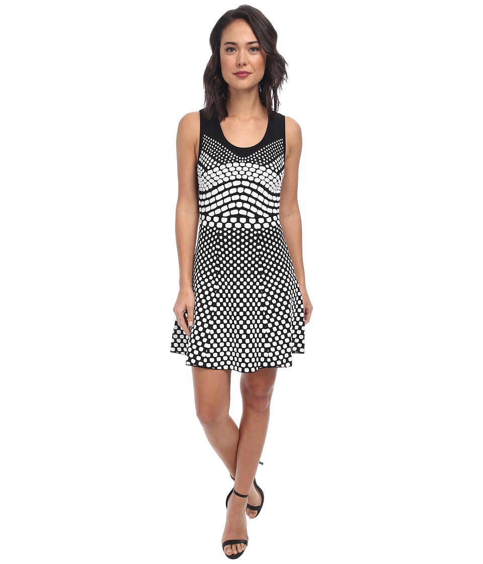 Nicole Miller Erica Pixel Jaquard Fit-N-Flare Dress (Black/White) Women