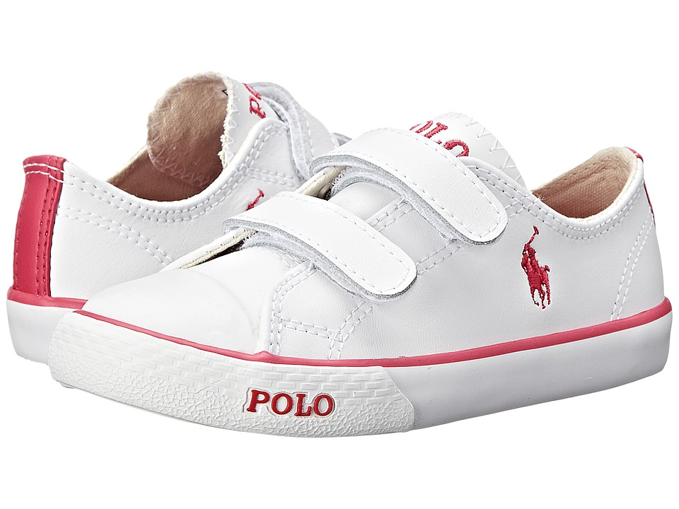 Polo Ralph Lauren Kids - Carson II EZ (Toddler) (White Leather/Pink) Girl's Shoes