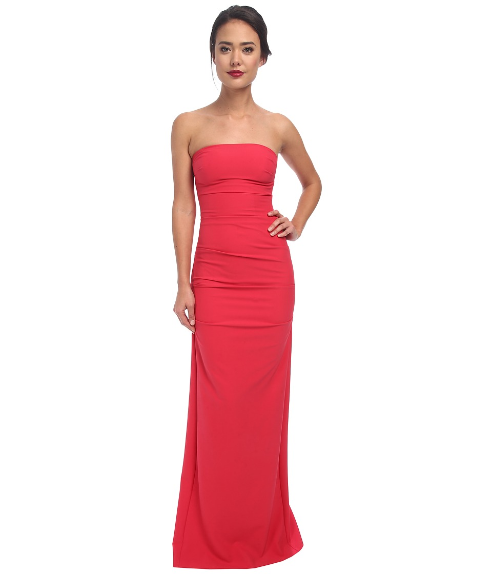 Nicole Miller - Felix Techy Crepe Strapless Gown (Watermelon) Women's Dress