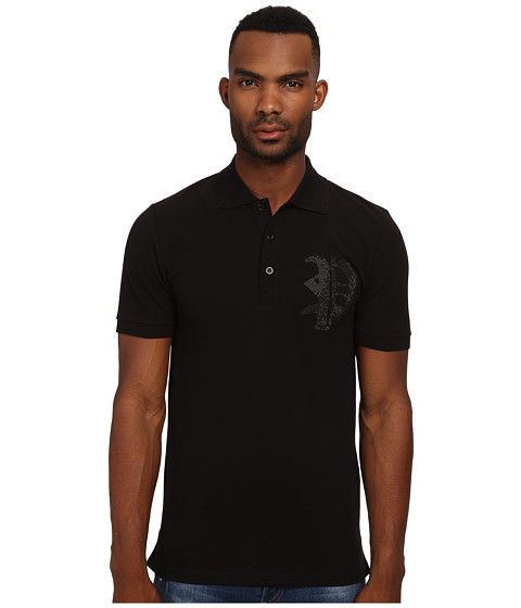 Philipp Plein - Gothic Issue Polo (Black) Men's Clothing