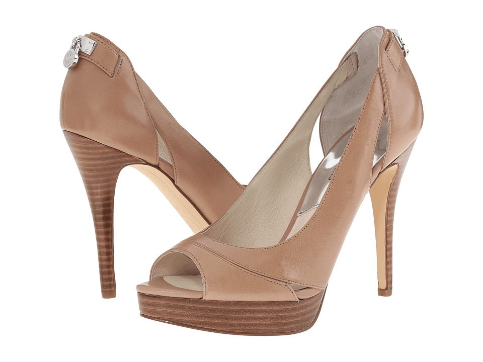 MICHAEL Michael Kors - Hamilton Open Toe (Dark Khaki Smooth Calf) High Heels