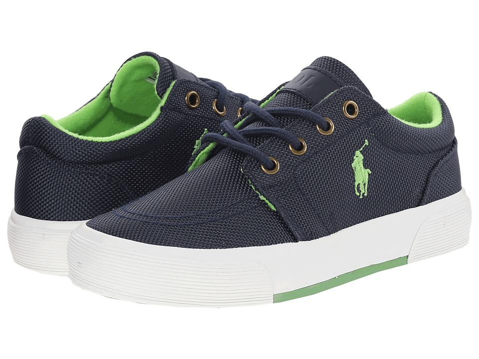Polo Ralph Lauren Kids - Faxon II (Big Kid) (Navy Ballistic Nylon/Green) Boys Shoes