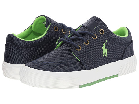 Polo Ralph Lauren Kids - Faxon II (Big Kid) (Navy Ballistic Nylon/Green) Boys Shoes