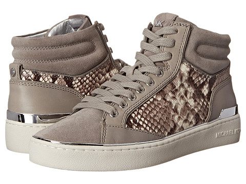 MICHAEL Michael Kors - Kyle High Top (Pearl Grey Vachetta/Sport Suede/Embossed Printed Snake) Women's Lace up casual Shoes