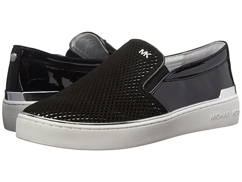 MICHAEL Michael Kors - Phoebe Slip-On (Black/Silver Sport Suede/Patent) Women's Slip on Shoes