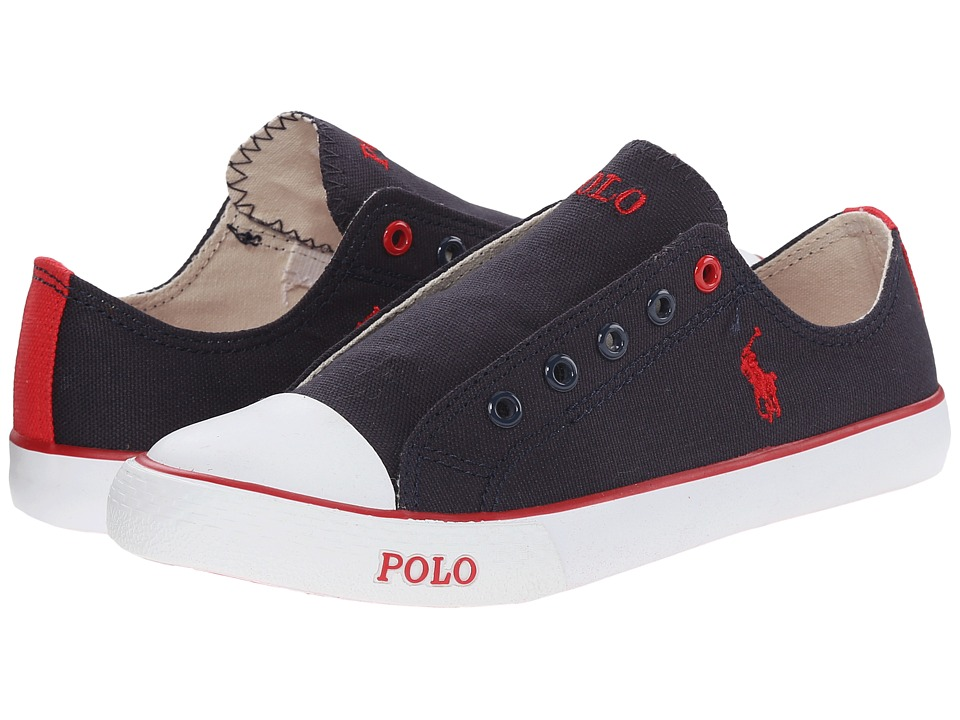 Polo Ralph Lauren Kids - Carson Laceless (Little Kid) (Navy Canvas/Red) Boy's Shoes