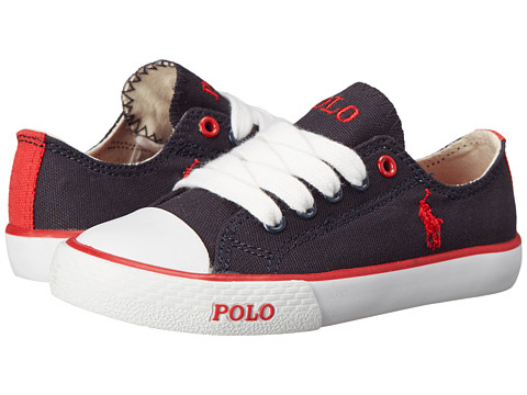 Polo Ralph Lauren Kids - Carson Laceless (Toddler) (Navy Canvas/Red) Boy's Shoes