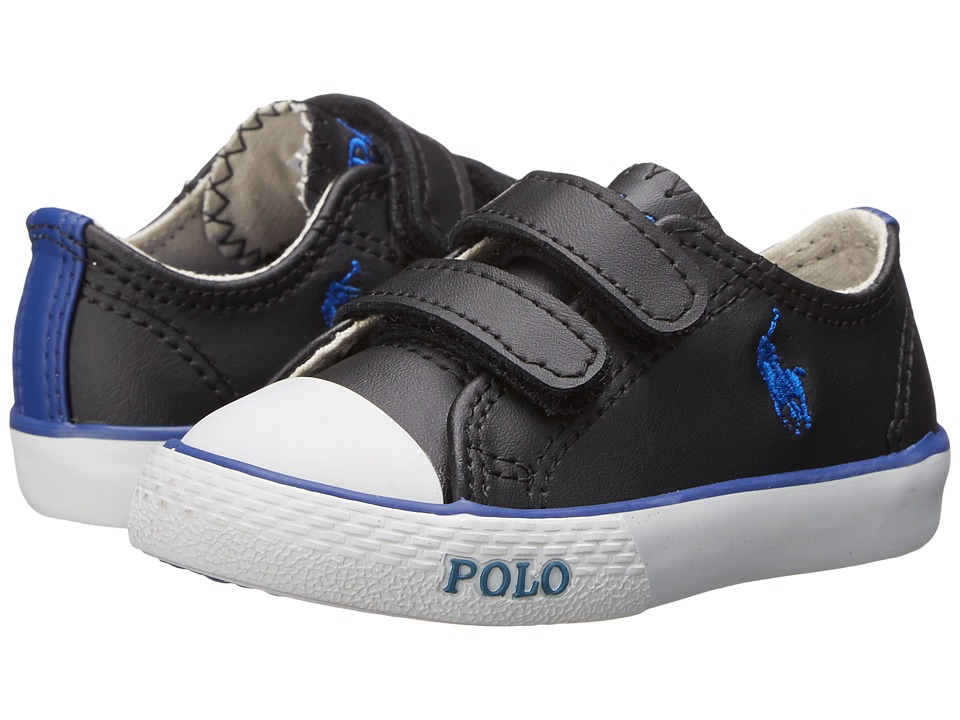 Polo Ralph Lauren Kids - Carson II EZ (Toddler) (Black Leather/Royal) Boy's Shoes