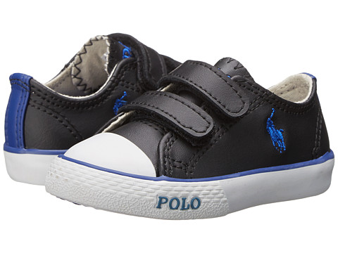 Polo Ralph Lauren Kids - Carson II EZ (Toddler) (Black Leather/Royal) Boy