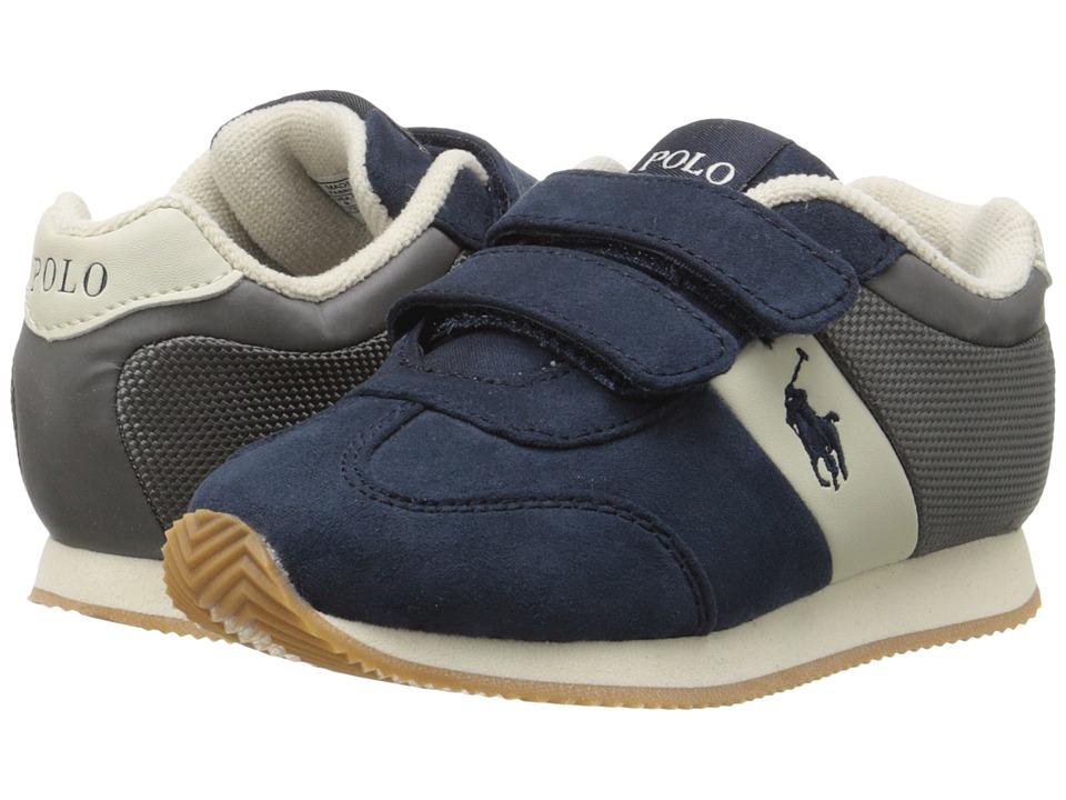 Polo Ralph Lauren Kids - Duma EZ (Toddler) (Navy Microfiber/Grey) Boy's Shoes