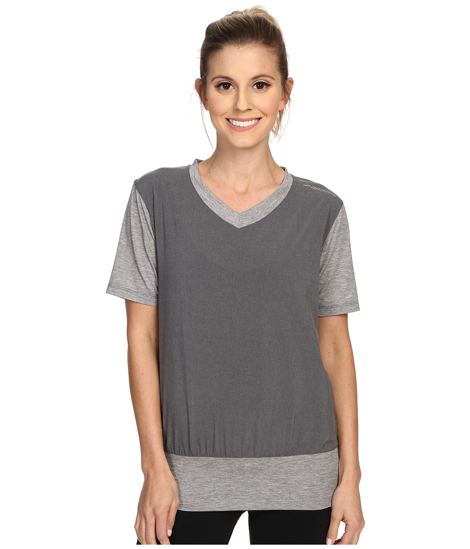 Brooks - Fly-By Short Sleeve Pullover Top (Heather Oxford) Women's Short Sleeve Pullover
