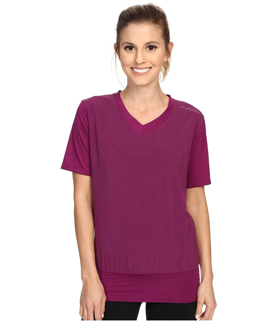Brooks - Fly-By Short Sleeve Pullover Top (Heather Currant) Women's Short Sleeve Pullover