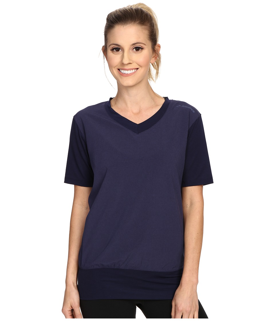 Brooks - Fly-By Short Sleeve Pullover Top (Heather Navy) Women's Short Sleeve Pullover