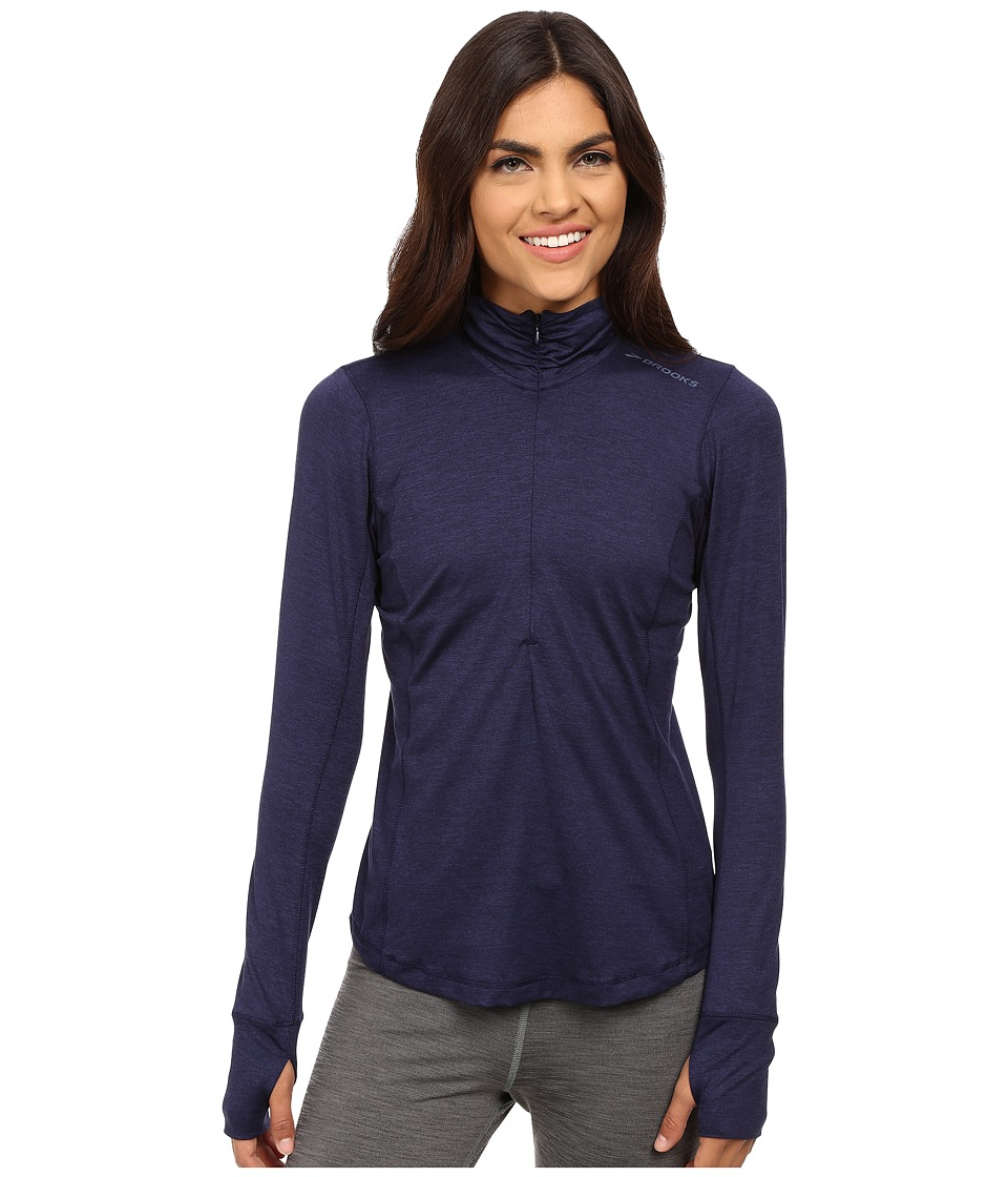 Brooks - Dash 1/2 Zip (Heather Navy) Women's Long Sleeve Pullover