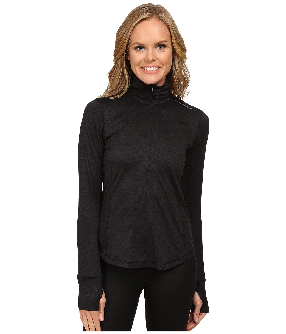Brooks - Dash 1/2 Zip (Heather Black) Women's Long Sleeve Pullover