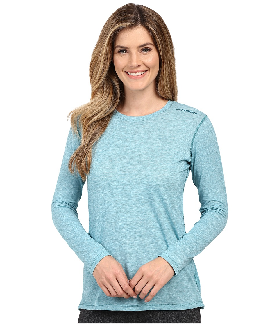 Brooks - Distance Long Sleeve Top (Heather Kale) Women's Long Sleeve Pullover