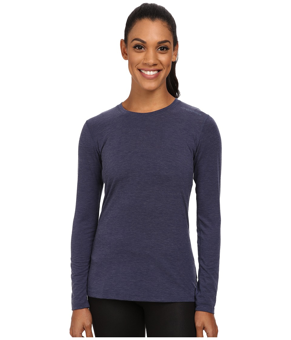 Brooks - Distance Long Sleeve Top (Heather Navy) Women's Long Sleeve Pullover