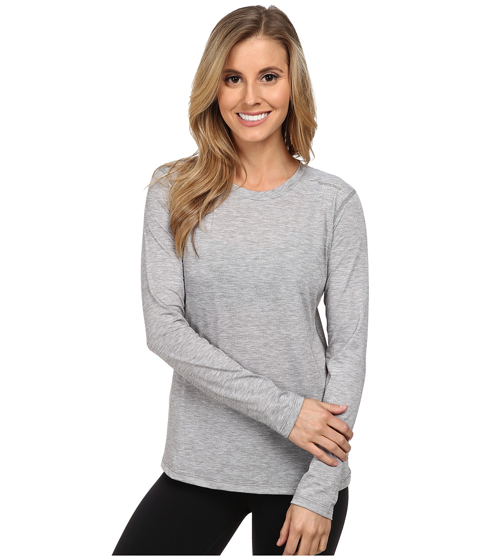Brooks - Distance Long Sleeve Top (Heather Oxford) Women's Long Sleeve Pullover