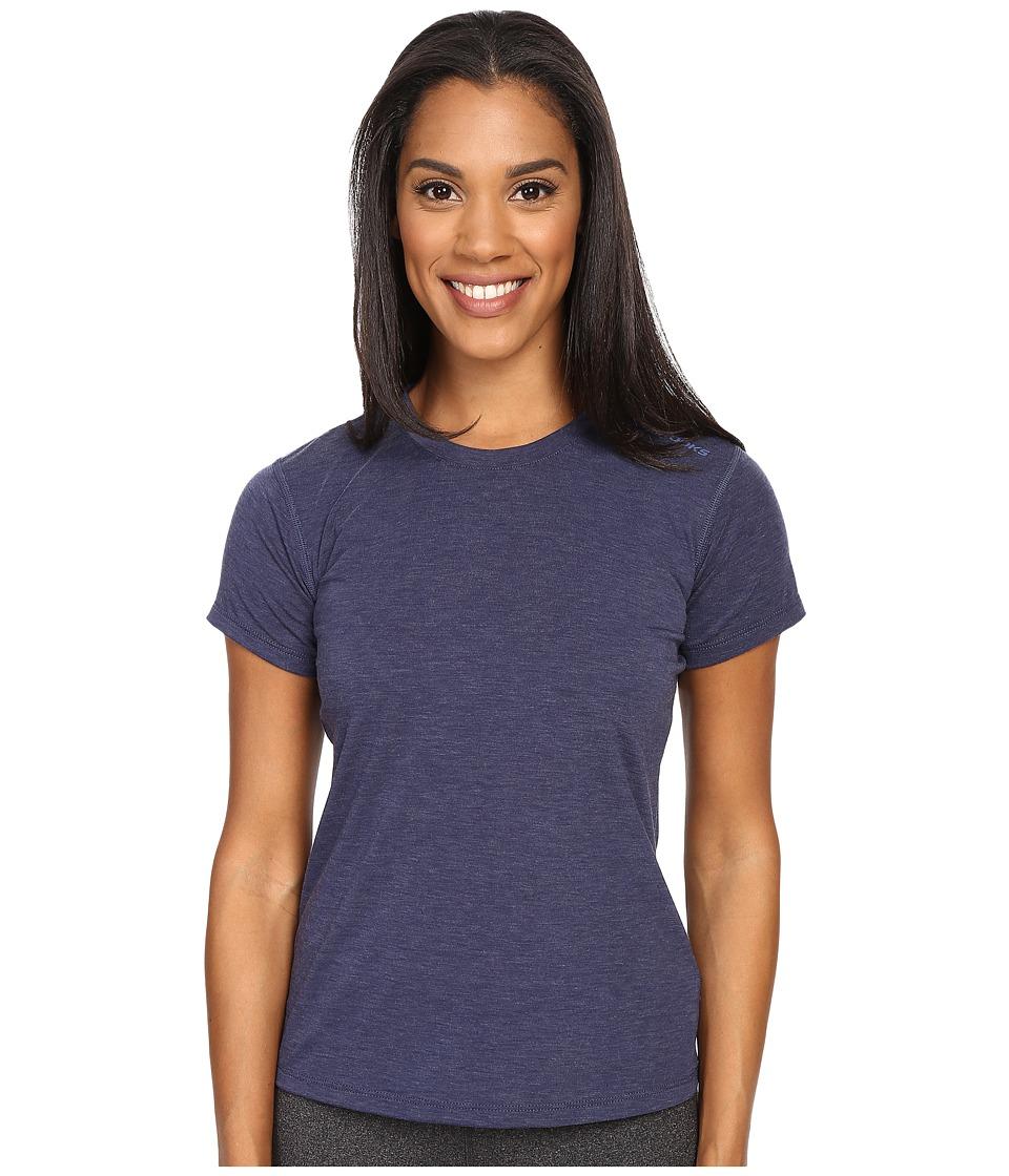 Brooks - Distance Short Sleeve Top (Heather Navy) Women's Short Sleeve Pullover