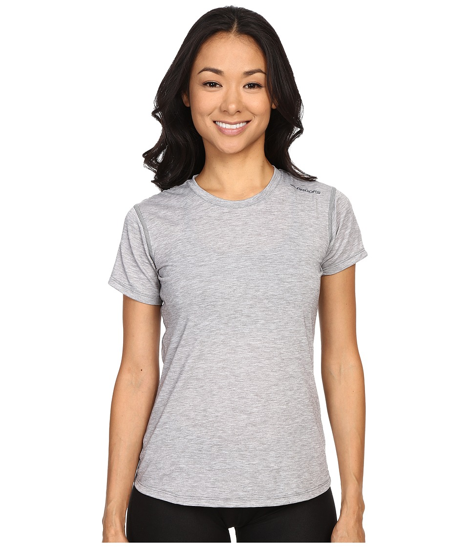 Brooks - Distance Short Sleeve Top (Heather Oxford) Women's Short Sleeve Pullover