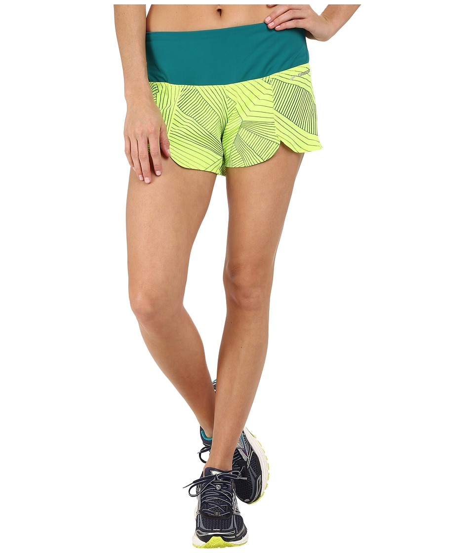 Brooks - Racey 3.5 Shorts (Nightlife Big Sunshine/Kale) Women's Shorts