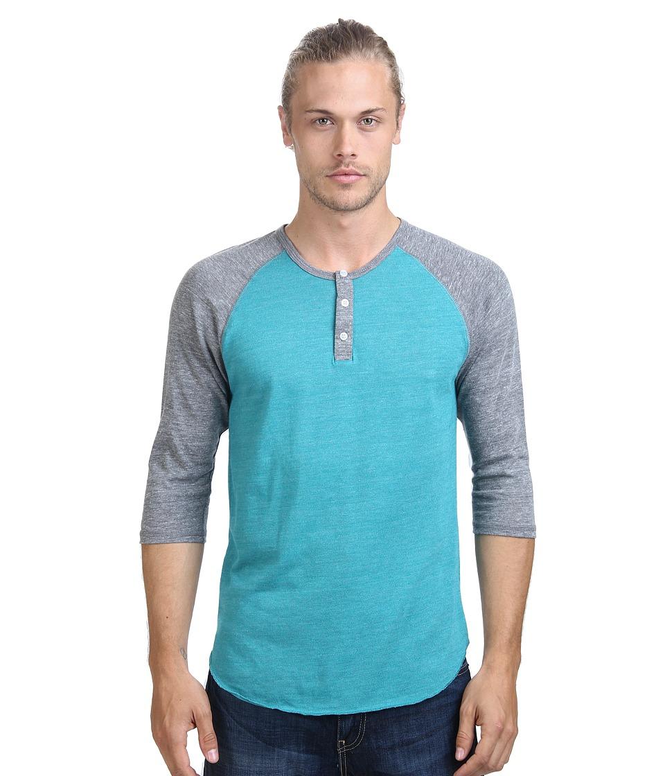 Alternative - 3/4 Raglan Henley (Eco True Sea Green) Men's Long Sleeve Pullover