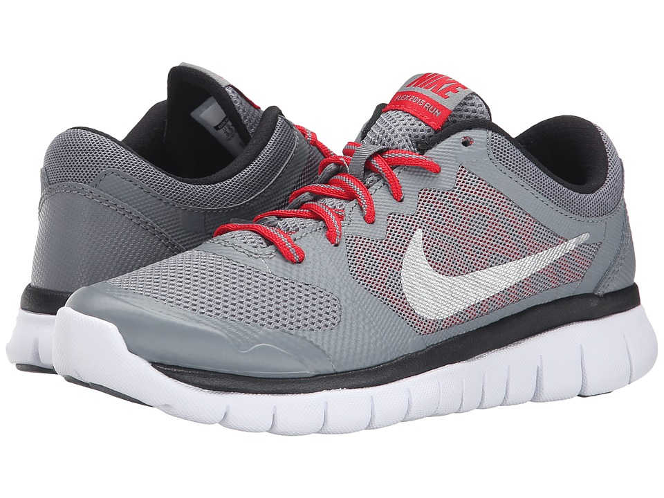 Nike Kids - Flex 2015 Run (Big Kid) (Cool Grey/University Red/Black/Metallic Silver) Boys Shoes