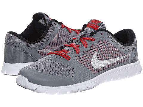 Nike Kids - Flex 2015 Run (Little Kid) (Cool Grey/University Red/Black/Metallic Silver) Boys Shoes