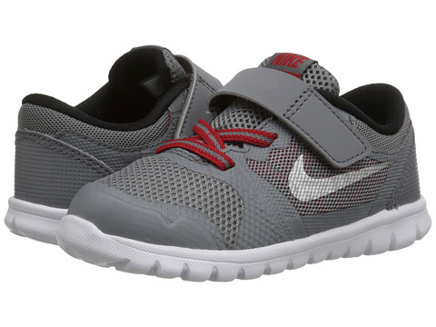 Nike Kids - Flex 2015 Run (Infant/Toddler) (Cool Grey/University Red/Black/Metallic Silver) Boys Shoes
