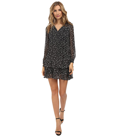Ivy & Blu Maggy Boutique - L/S Polka Dot Double Layer Ruffled Shirt Dress (Black/White) Women