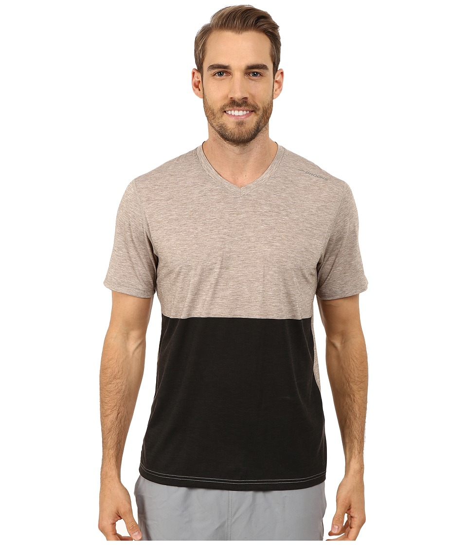 Brooks - Fly-By Short Sleeve Top (Heather Carb/Black) Men's Short Sleeve Pullover