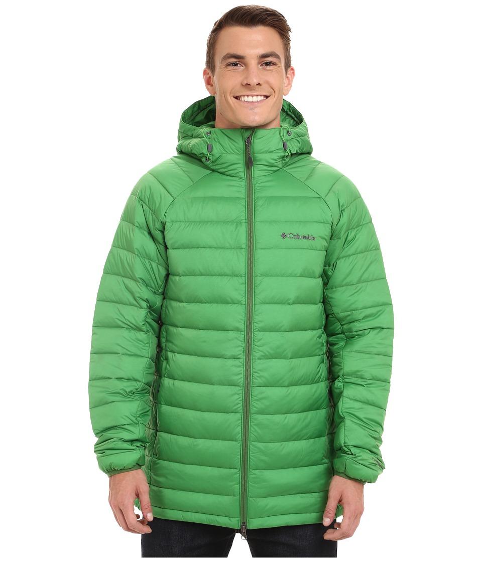 Columbia - Platinum Plus 860 TurboDown Hooded Jacket (Clean Green/Dark Backcountry) Men