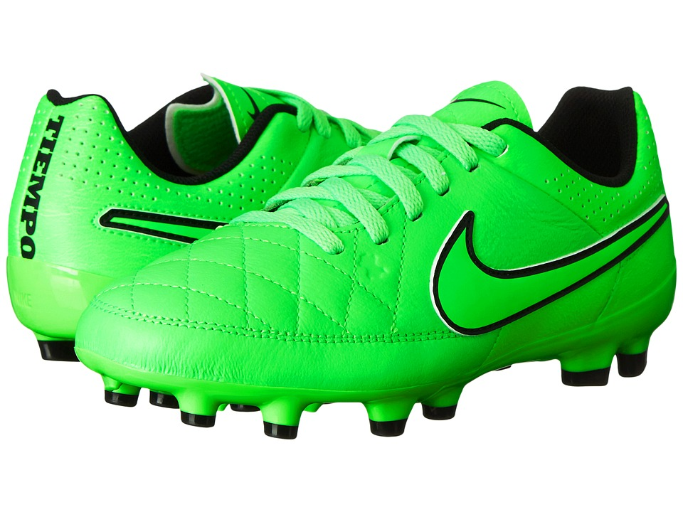 Nike Kids - Jr Tiempo Genio Leather Firm Ground Soccer (Toddler/Little Kid/Big Kid) (Green Strike/Black/Green Strike) Kids Shoes