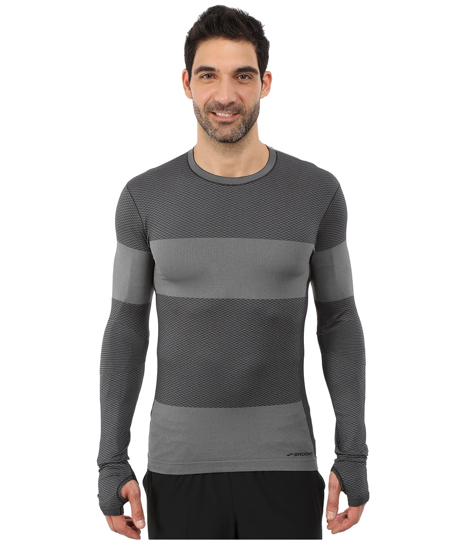 Brooks - Streaker Long Sleeve Top (Heather Black) Men's Long Sleeve Pullover