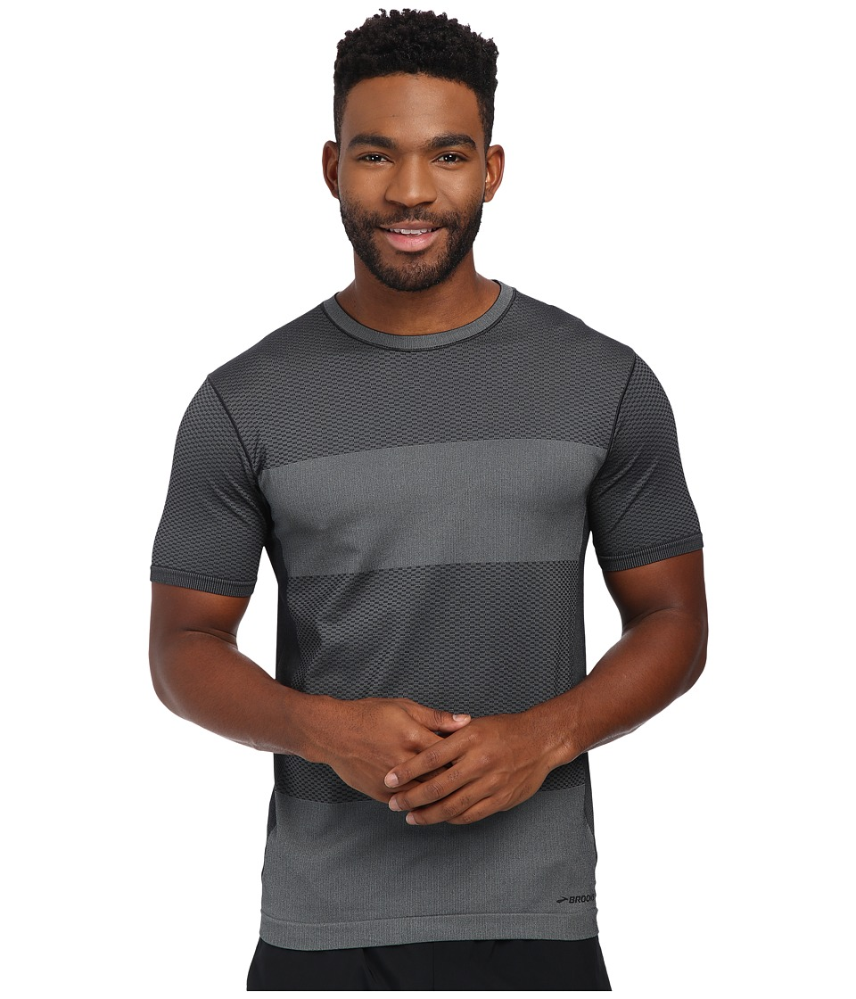 Brooks - Streaker Short Sleeve Top (Heather Black) Men's Short Sleeve Pullover