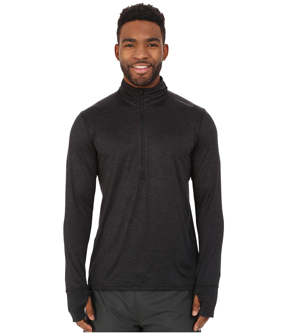 Brooks - Dash 1/2 Zip (Heather Black) Men's Long Sleeve Pullover