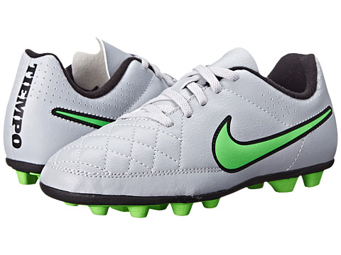 Nike Kids - Jr Tiempo Rio II FG-R Soccer (Toddler/Little Kid/Big Kid) (Wolf Grey/Black/Green Strike) Kids Shoes