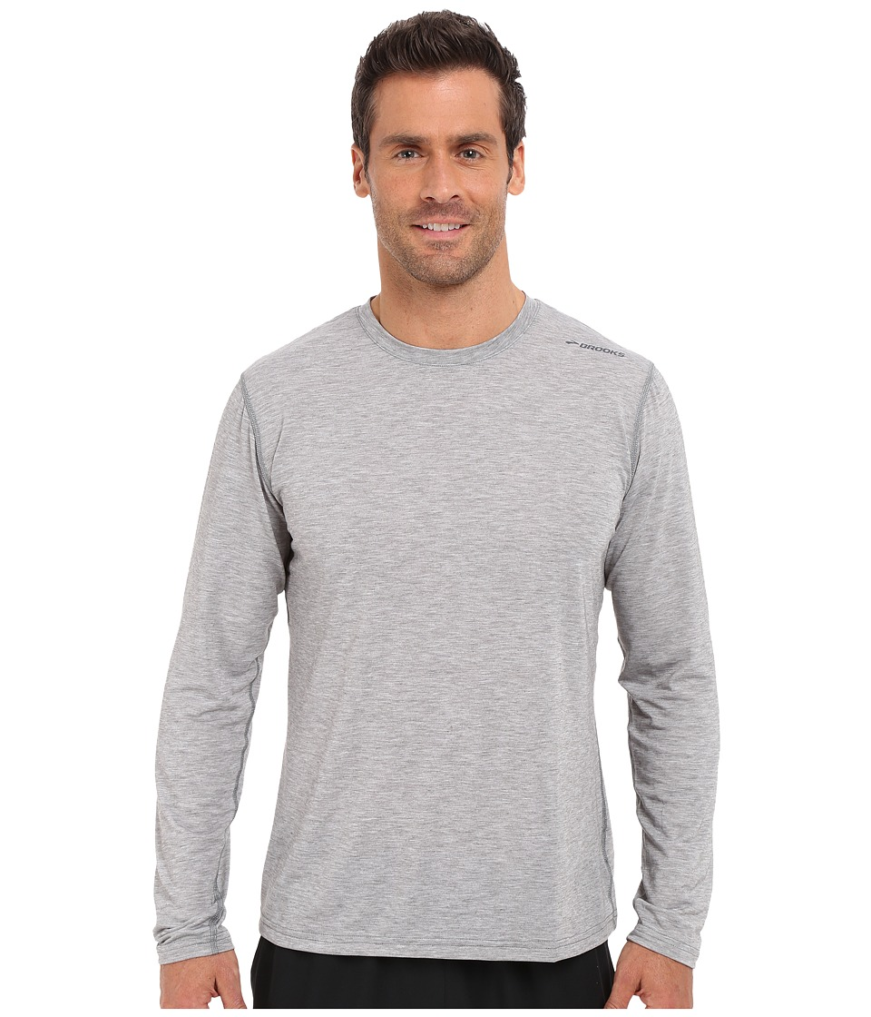 Brooks - Distance Long Sleeve Top (Heather Oxford) Men's Long Sleeve Pullover