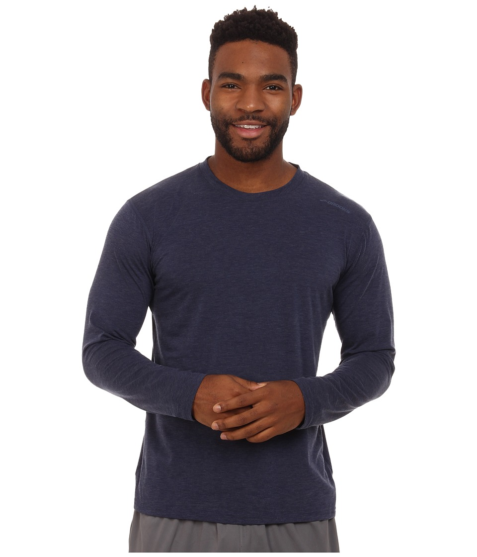 Brooks - Distance Long Sleeve Top (Heather Navy) Men's Long Sleeve Pullover