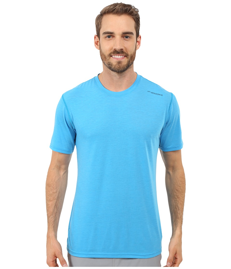 Brooks - Distance Short Sleeve (Heather Hydrate) Men's Short Sleeve Pullover