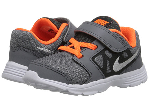 Nike Kids - Downshifter 6 (Infant/Toddler) (Cool Grey/Total Orange/White/Metallic Silver) Boys Shoes
