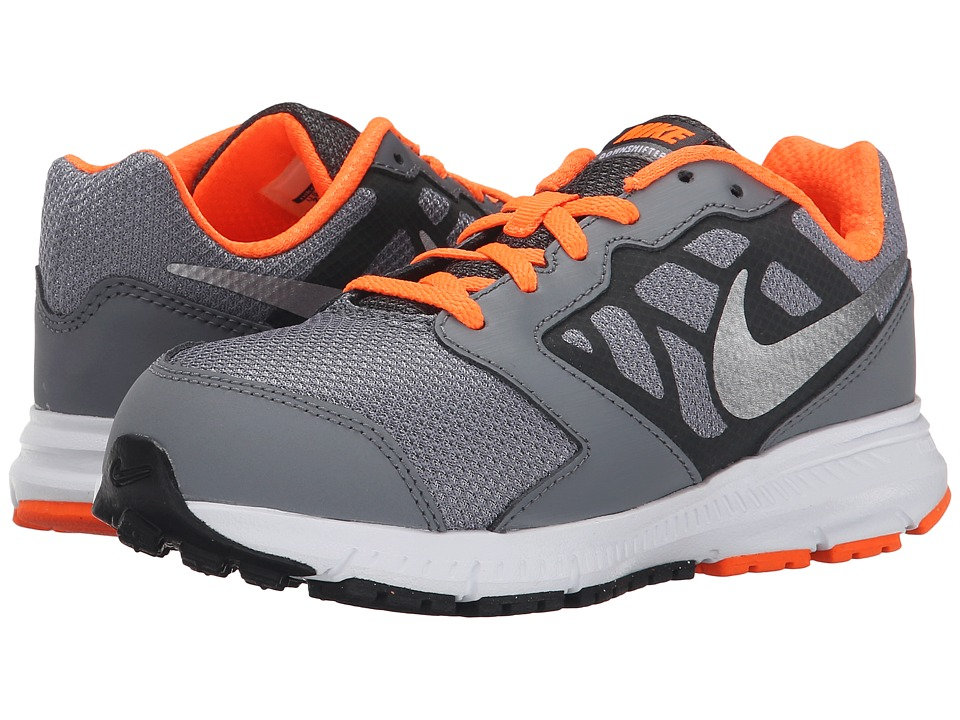 Nike Kids - Downshifter 6 (Little Kid/Big Kid) (Cool Grey/Total Orange/White/Metallic Silver) Boys Shoes