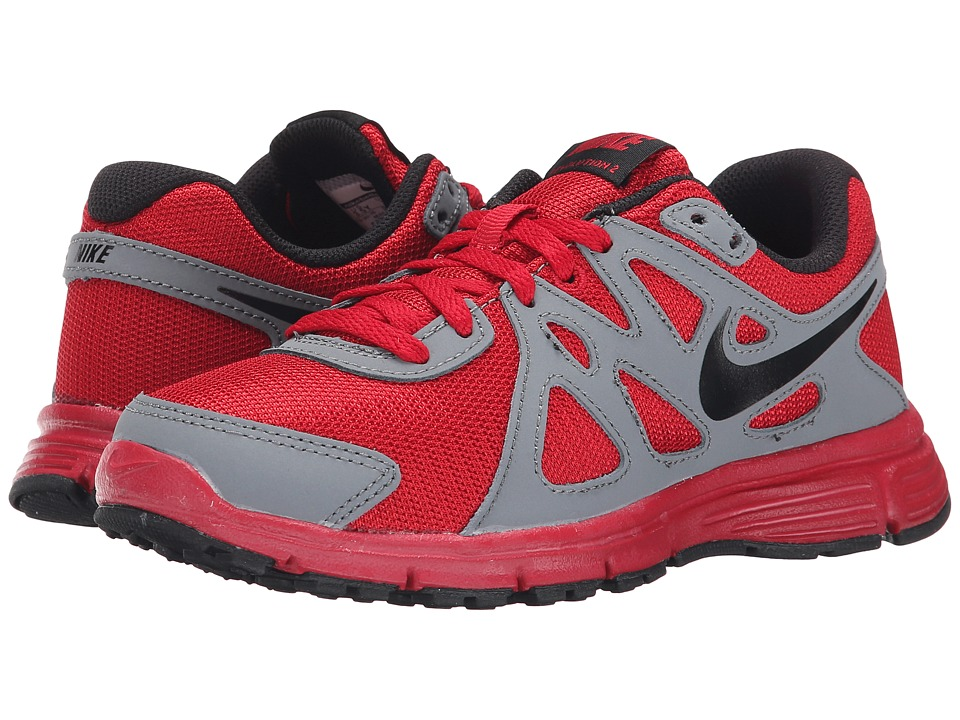 Nike Kids - Revolution 2 (Big Kid) (Gym Red/Cool Grey/White/Black) Kids Shoes