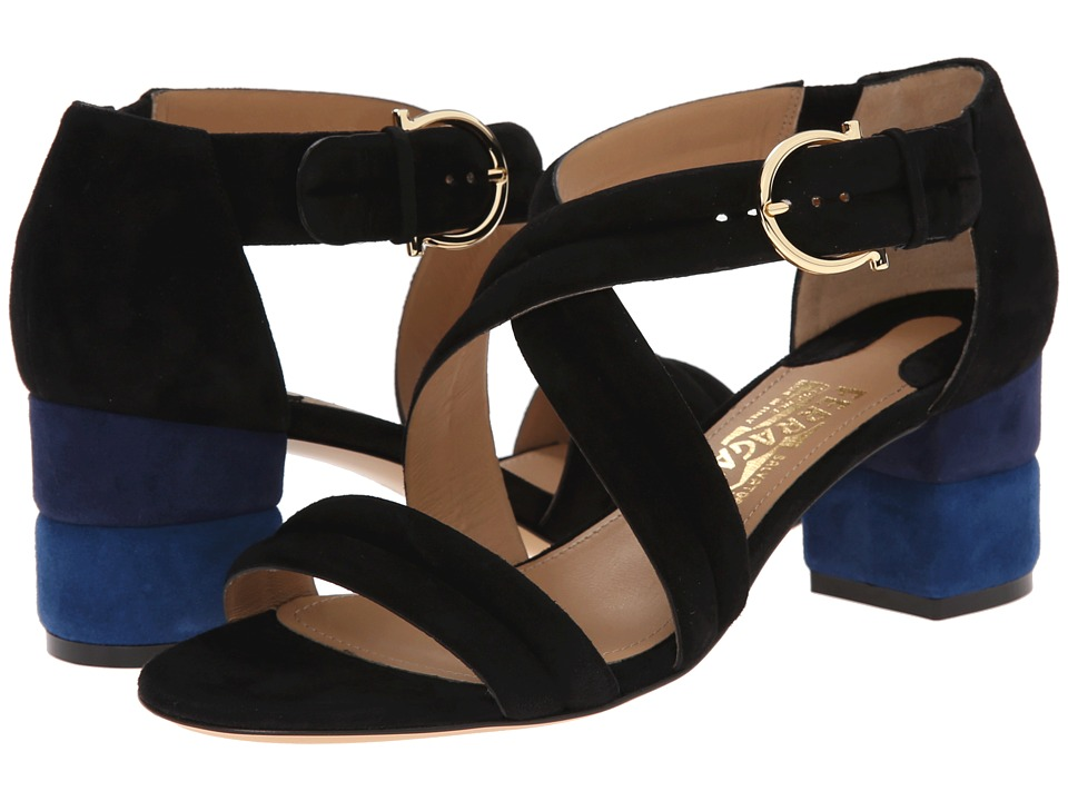 Salvatore Ferragamo Suede Low Heel Sandal (Nero) Women