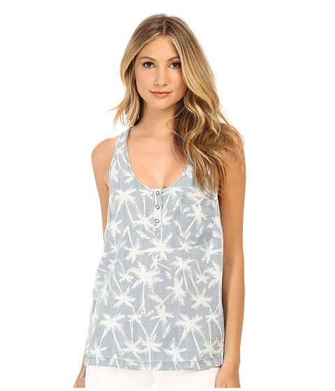 Splendid - Pinstripe Palm Tree Tank Top (Light Wash) Women's Sleeveless