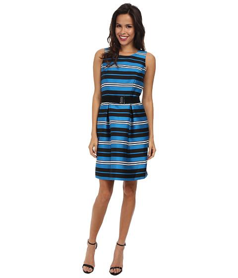Adrianna Papell - Pleated Sleeveless Dress (Blue Multi) Women