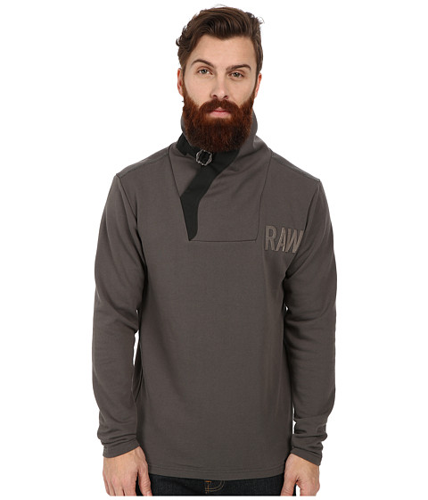 G-Star - Aero Art Buckle Long Sleeve Sweater (Raw Grey) Men's Sweater