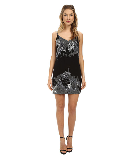 Aidan Mattox - Beaded Slip Dress (Black/Silver) Women's Dress