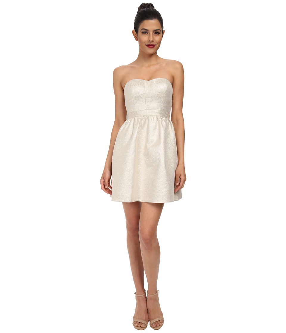 Aidan Mattox - Strapless Jacquard Cocktail Dress (Gold) Women's Dress