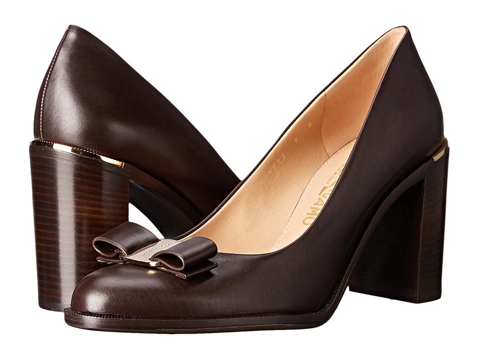 Salvatore Ferragamo Calfskin Block Heel (Cacao) High Heels